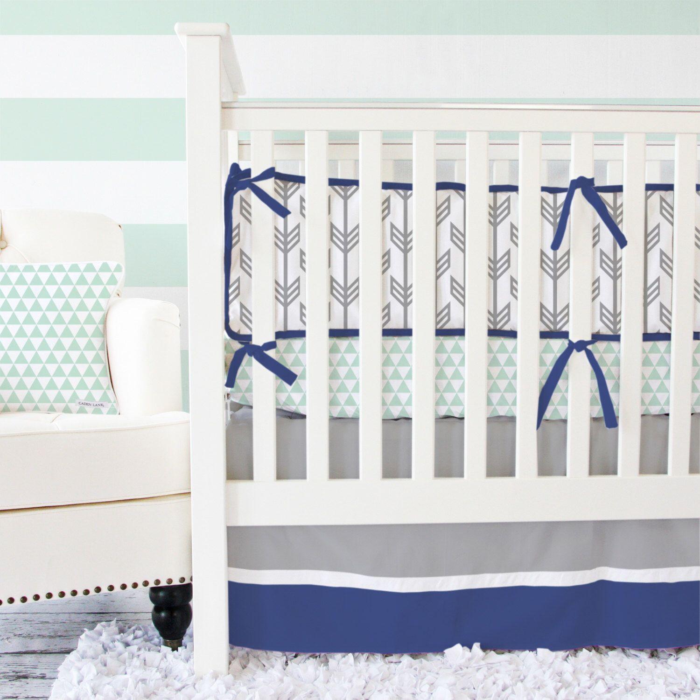 Navy & Mint Arrow Baby Bedding