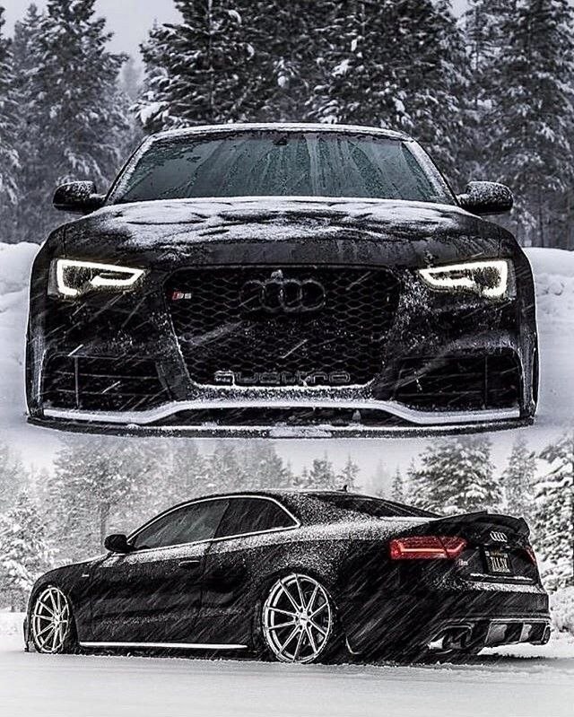 Black Audi Quattro On Snow Black Audi Audi S5 Luxury Cars Audi