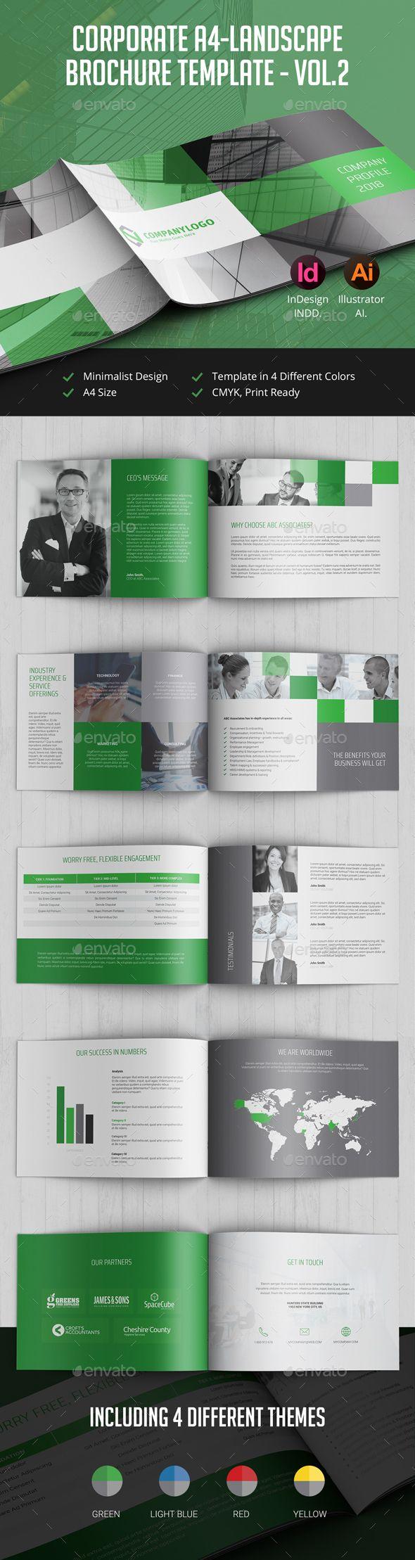 Corporate Landscape Brochure Template InDesign INDD AI Illustrator - Landscape brochure template