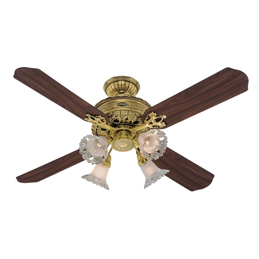 Art Nouveau Burnished Br Ceiling Fan