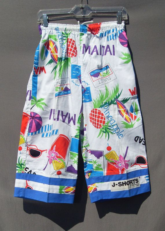 d7a93628e77 80 s Long summer jams shorts by StarShineVintage on Etsy