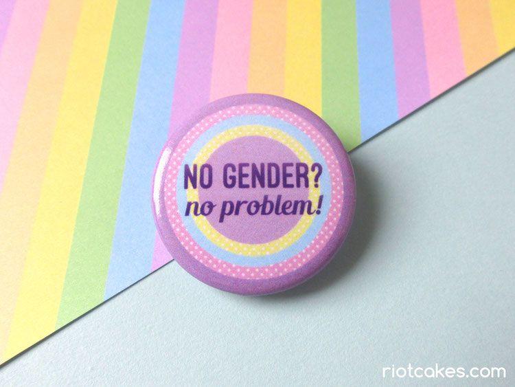 No Gender No Problem Non Binary Button Gender Binary Taste The Rainbow