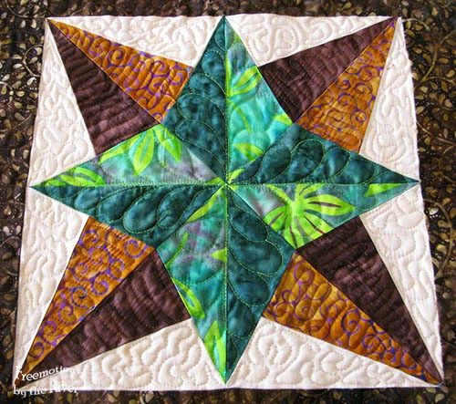 Closeup Blazing Star block at Freemotion by the River made with the GO! Blazing Star Die! #accuquilt
