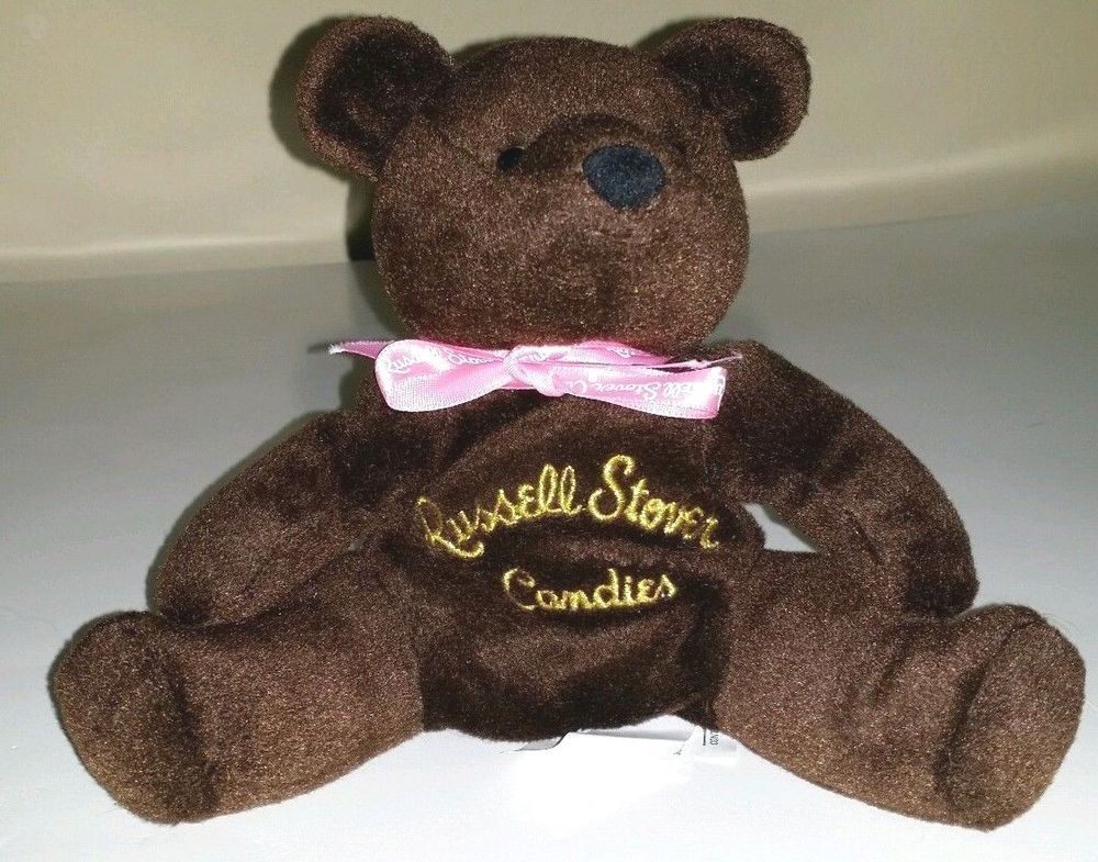 Russell Stover Candies brown bear plush Beanie ANIMAL I LOVE CHOCOLATE pink bow