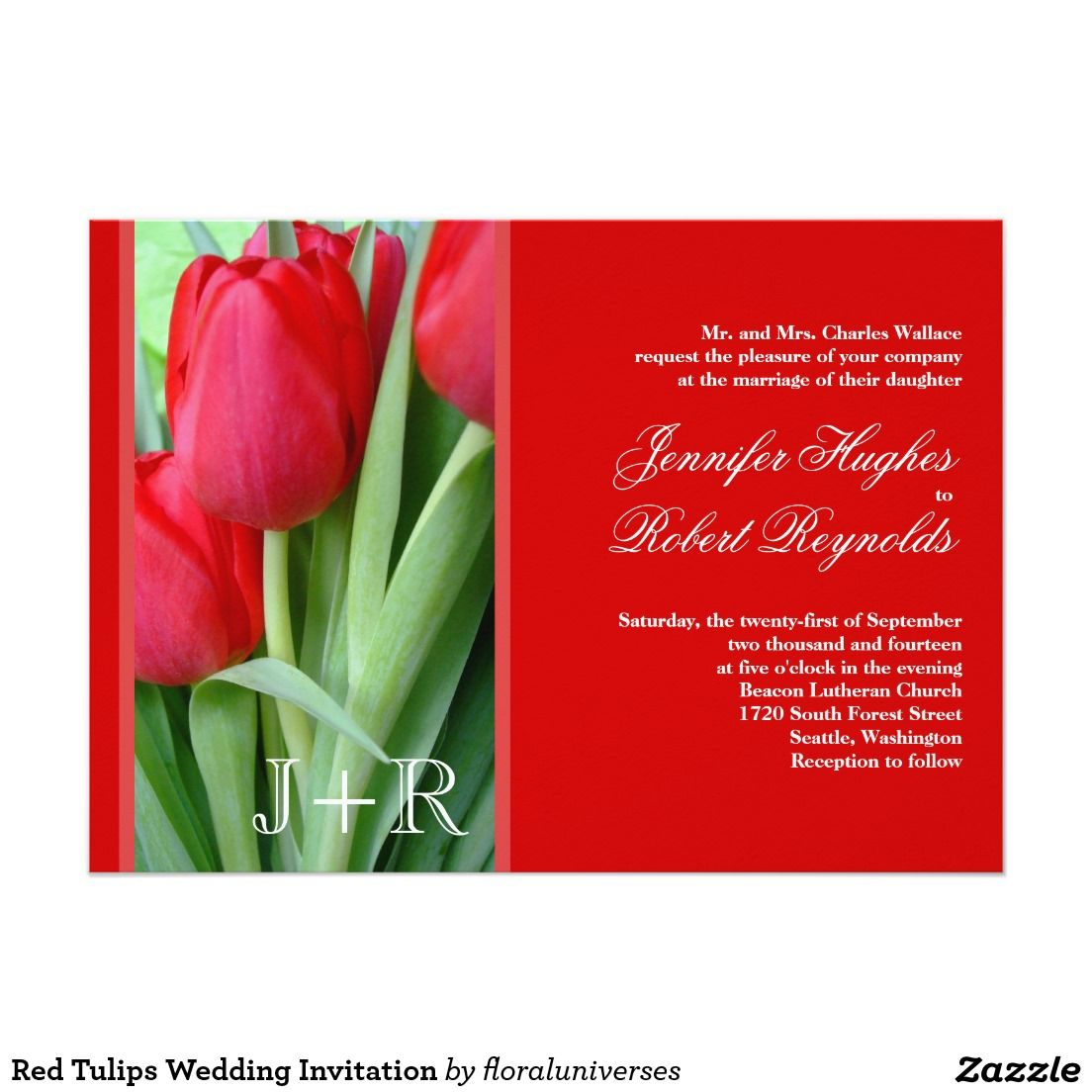 Red Tulips Wedding Invitation | Floral orchid | Pinterest | Red ...