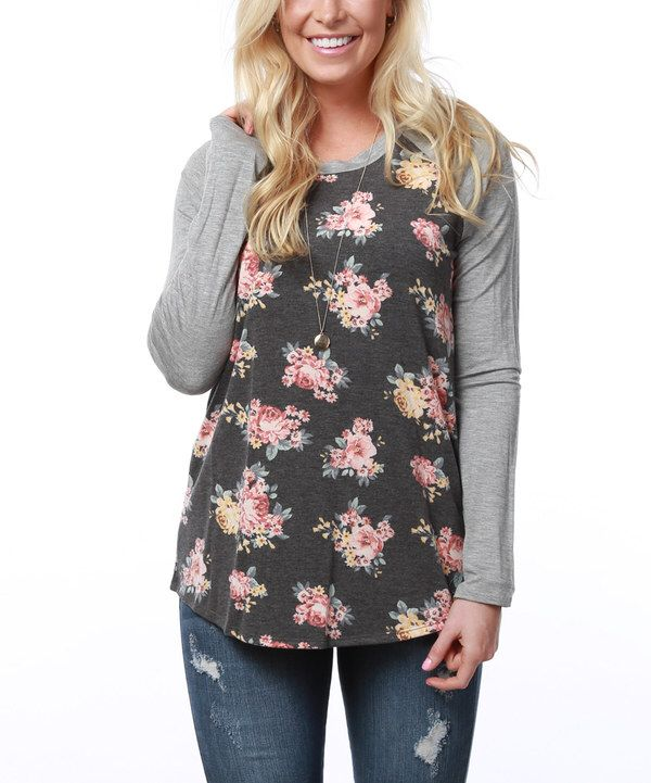 Coco and Main Heather Gray Antique Floral Raglan Tunic on #zulily today!
