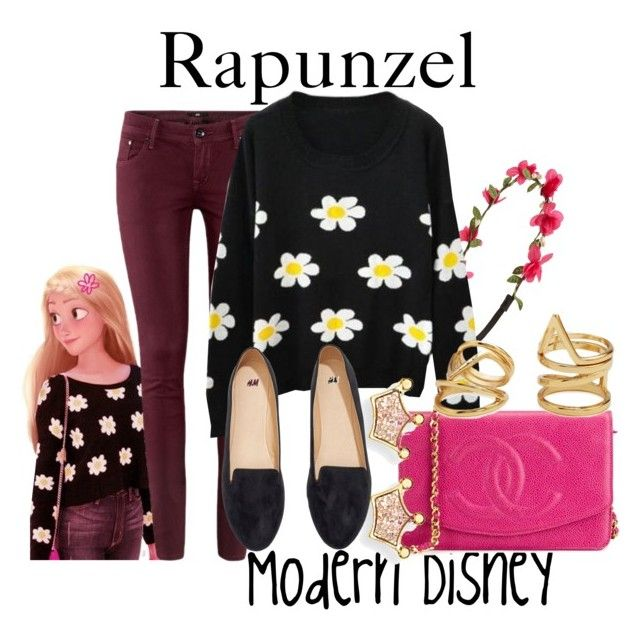 """""""Modern Rapunzel"""" by disneyandsuch ❤ liked on Polyvore featuring Capelli New York, Merida, H&M, Chanel, Kevin Jewelers, Forever 21, modern, disney, tangled and WhereIsMySuperSuit"""