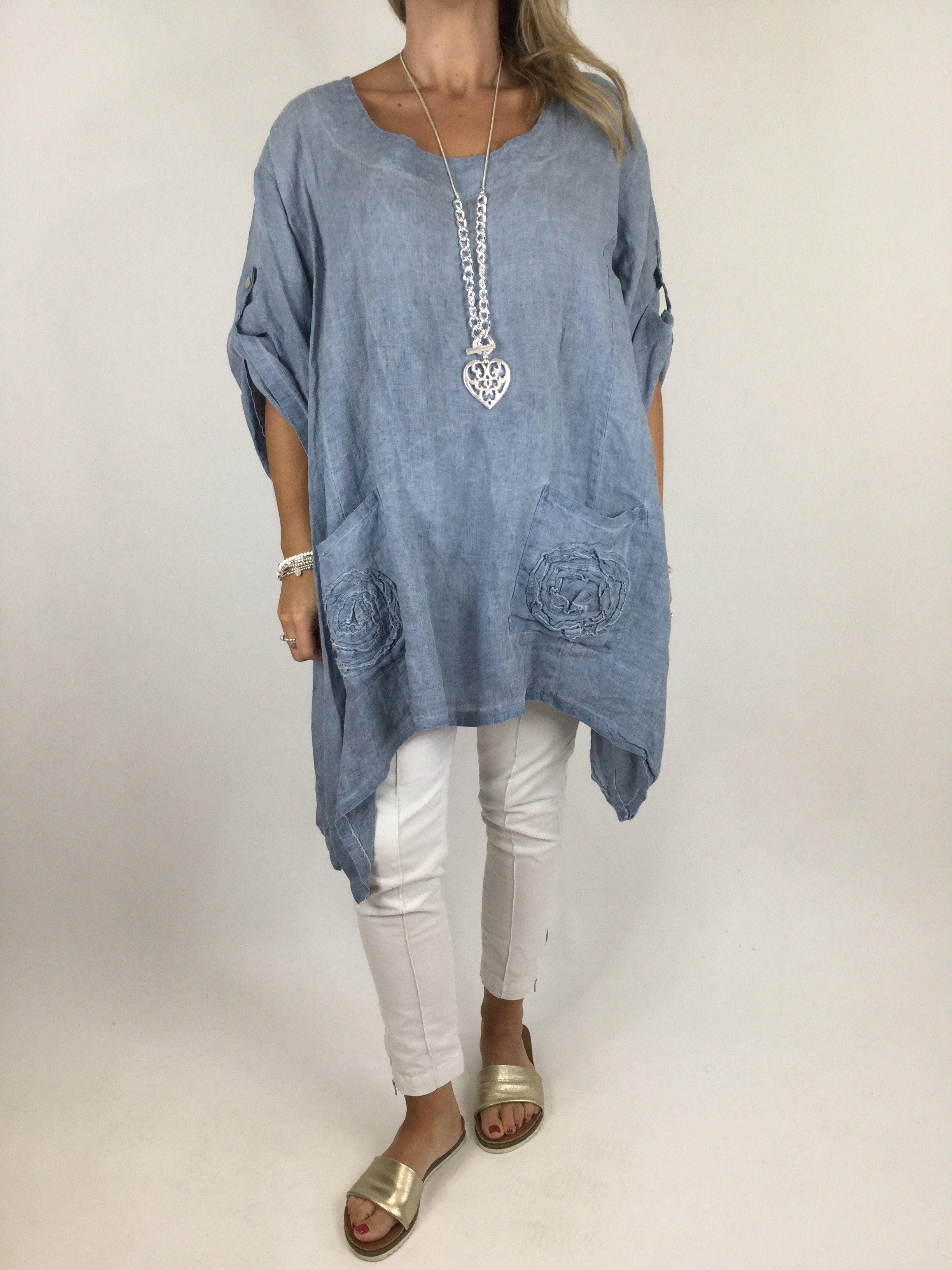 New Womens Italian Lagenlook Oversized 4 Button Detail Linen Plus Size Tunic Top