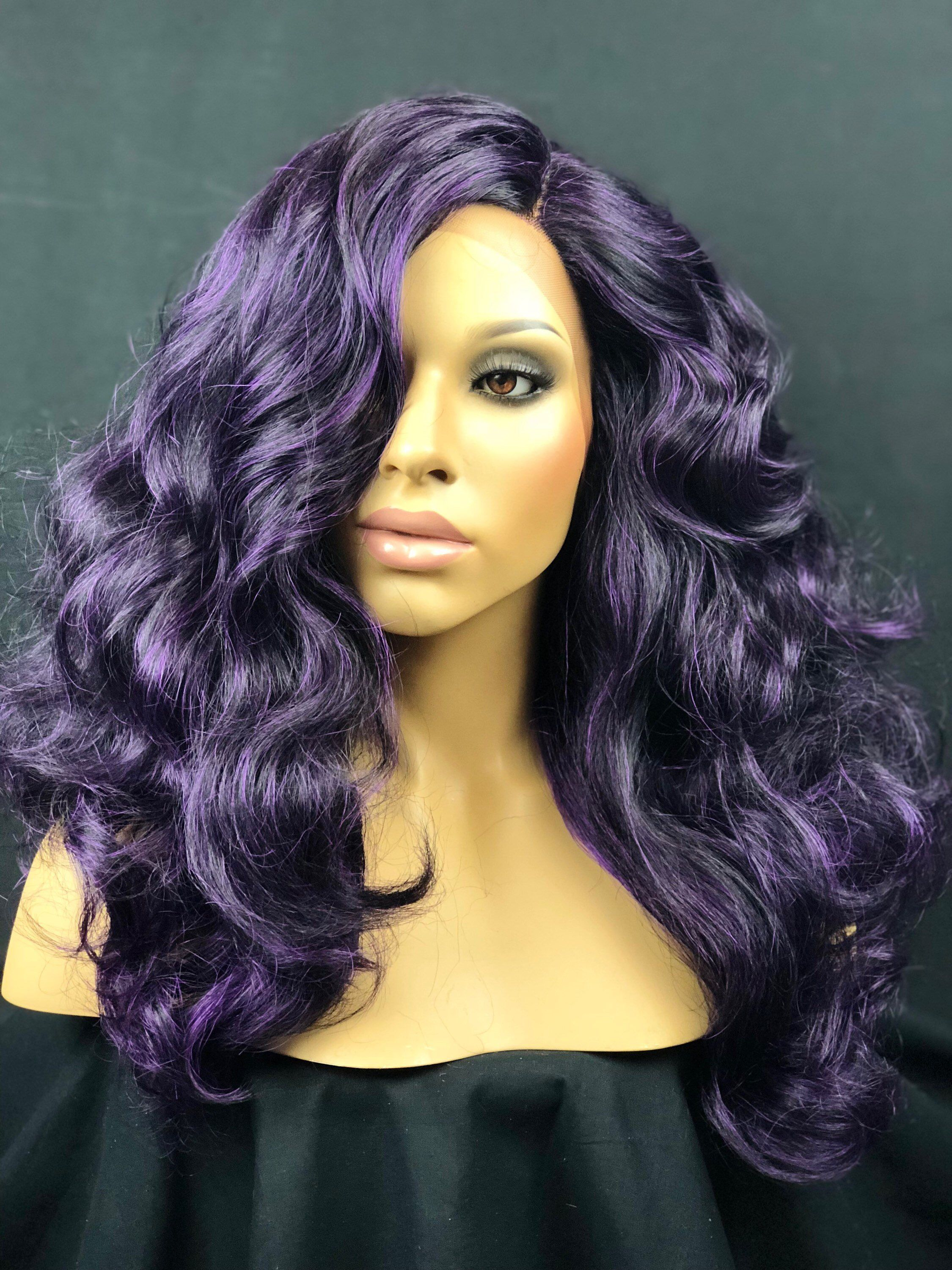 Purple u black highlight mix curly lace front wig top
