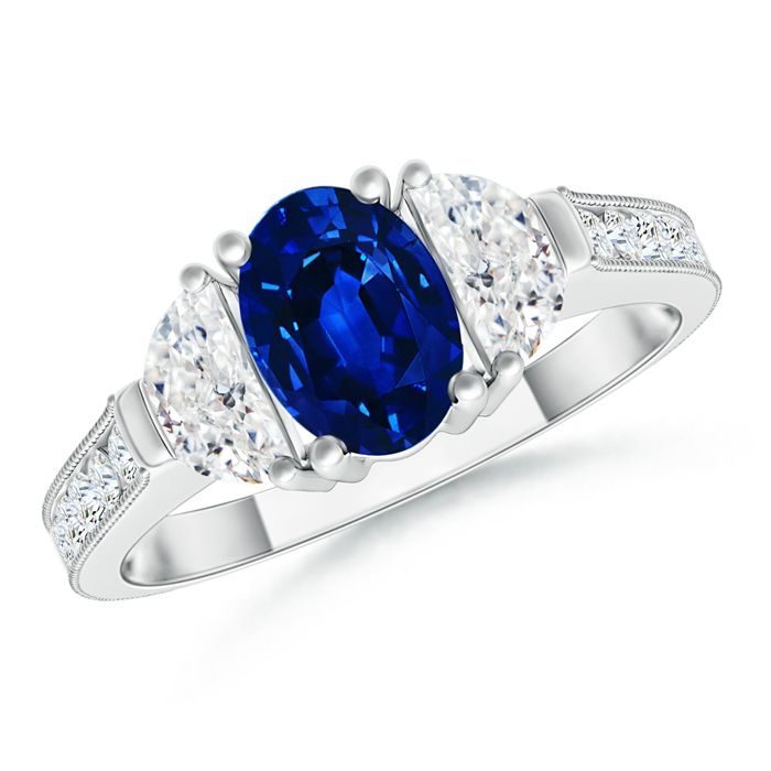 Angara Diamond Framed Tanzanite Cathedral Engagement Ring in 14k White Gold mh1AU