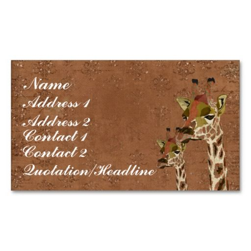 Rosa  Giraffes Glitzy  Business Card/Tags