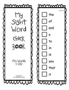 Fry Sight Word Check/Sticker book First 100   For the Girls