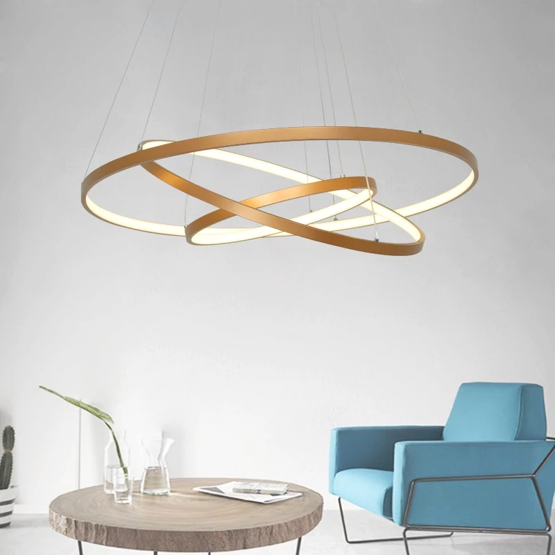 Modern Led Pendant Light Hanging Lamp Gold Painting Aluminium Pc For Living Dinning Room 85 265v With Images Hanging Lamp Hanging Lights Gold Paint