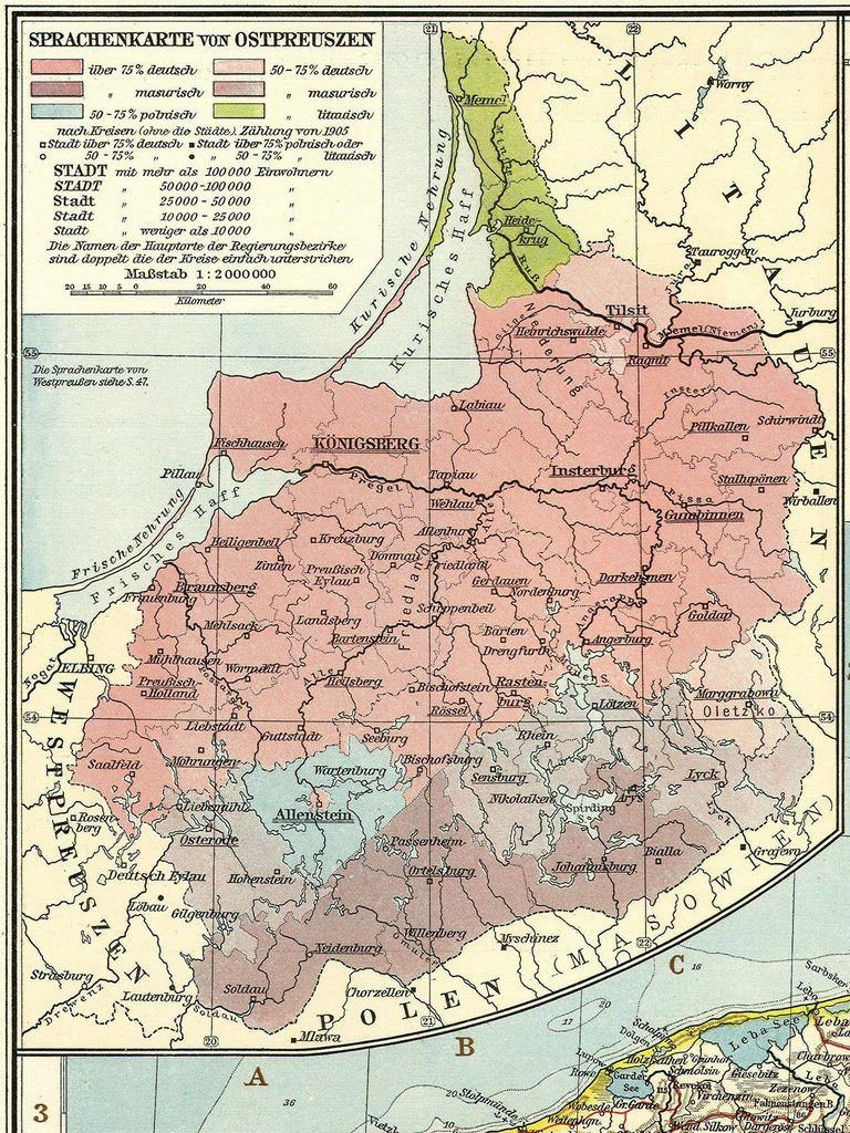 Language Map Of East Prussia In 1914 Land Of Maps West Ost