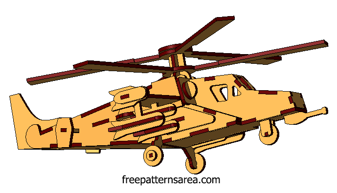 Wooden Model Helicopter 3D Laser Cutter Project Plans | Dxf