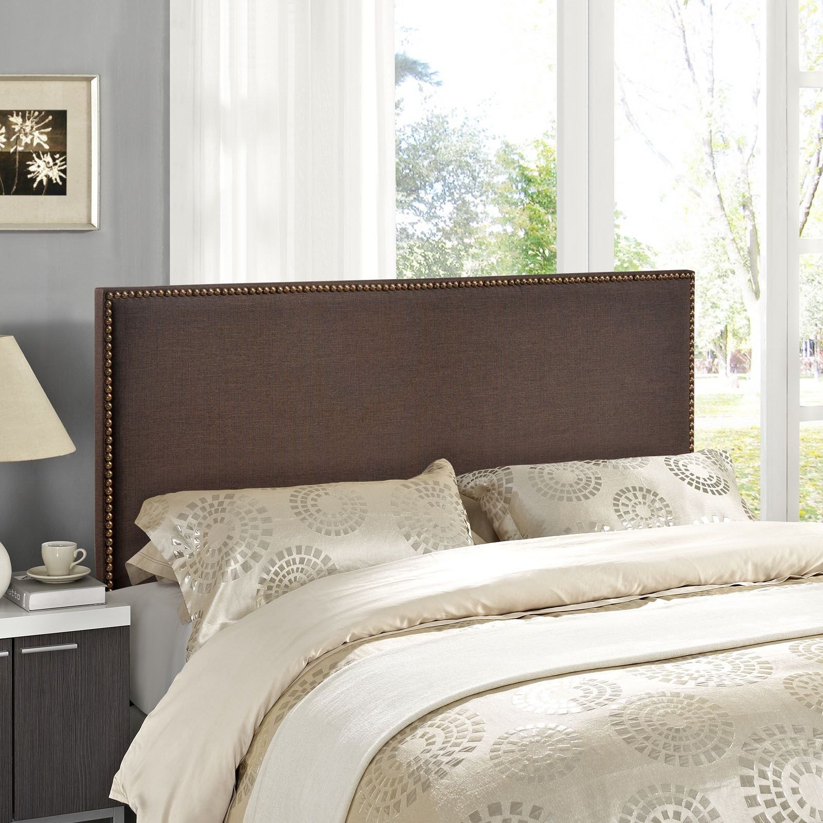 Region Dark Brown Queen Nailhead Upholstered Headboard | Home ...