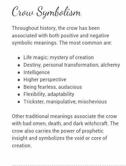 Crow Symbolism | sigils | Crow totem, Crow meaning, Crow tattoo meaning