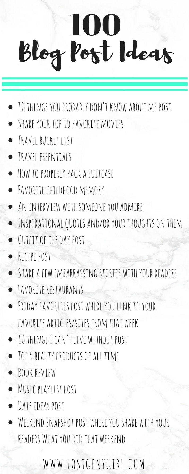 100 Lifestyle Blog Post Ideas   GEN Y GIRL   Blog topics ...