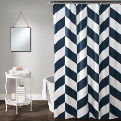 Jigsaw Chevron Shower Curtain In Navy Bedbathandbeyond Com Chevron Shower Curtain Blue Shower Curtains Curtains