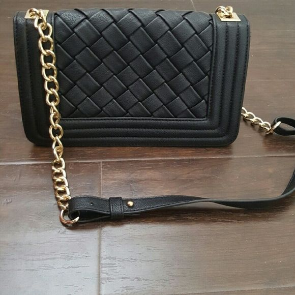 Braid black leather purse with gold hardware New  comes with shoulder strap Bags Shoulder Bags