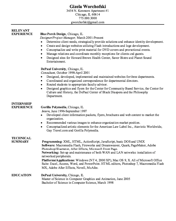 Example Of Computer Graphics Resume Examples Resume Cv Resume Resume Examples Computer Graphics