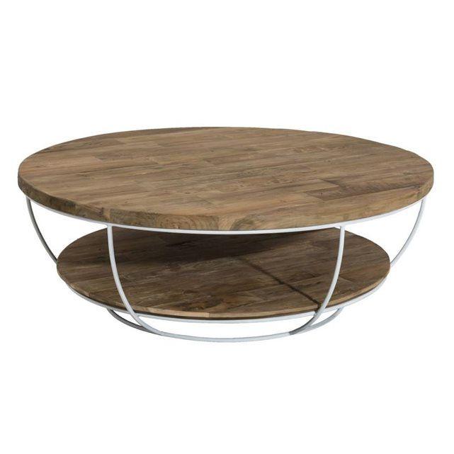 Table Basse Coque Fil Metal Blanc Et Double Plateaux En Teck Recycle D100xh35cm Swing Table Basse Table Basse Ronde Table Basse Double Plateau