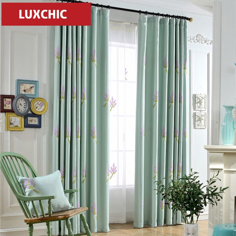 Mediterranean Classic Blue Embroidered Curtains For Living Room Glamorous Luxury Curtains For Living Room Inspiration