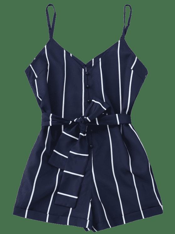 d85da18637 Striped Belted Cami Romper - PURPLISH BLUE S
