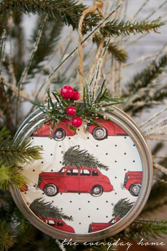 Diy Mason Jar Lid Christmas Ornaments Rustic Christmas Ornaments Christmas Ornaments Diy Christmas Ornaments