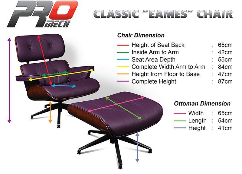 Classic Eames Lounge Chair dimensions Via Pro Mach Racing