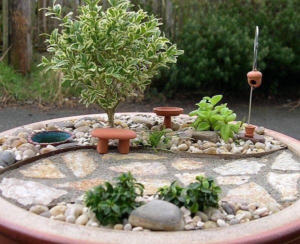 miniatur bänke teich steinweg bäumchen Miniaturgarten - gartenanlagen mit teich