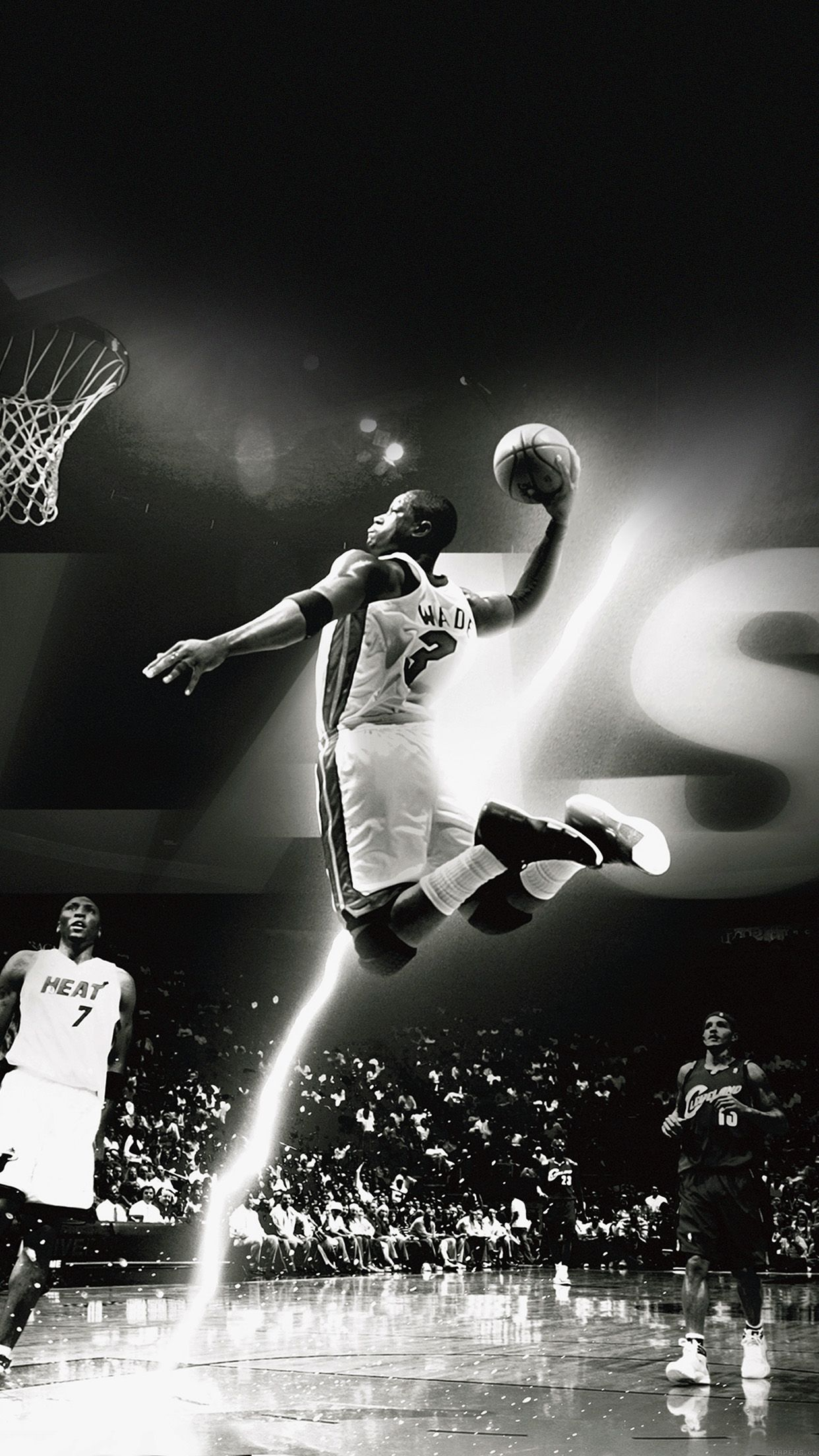 Tap And Get The Free App Sport Basketball Player Dwyane Wwade Black White Cool Miami Heat A Iphone Wallpaper For Guys Dwyane Wade Wallpaper Nba Wallpapers