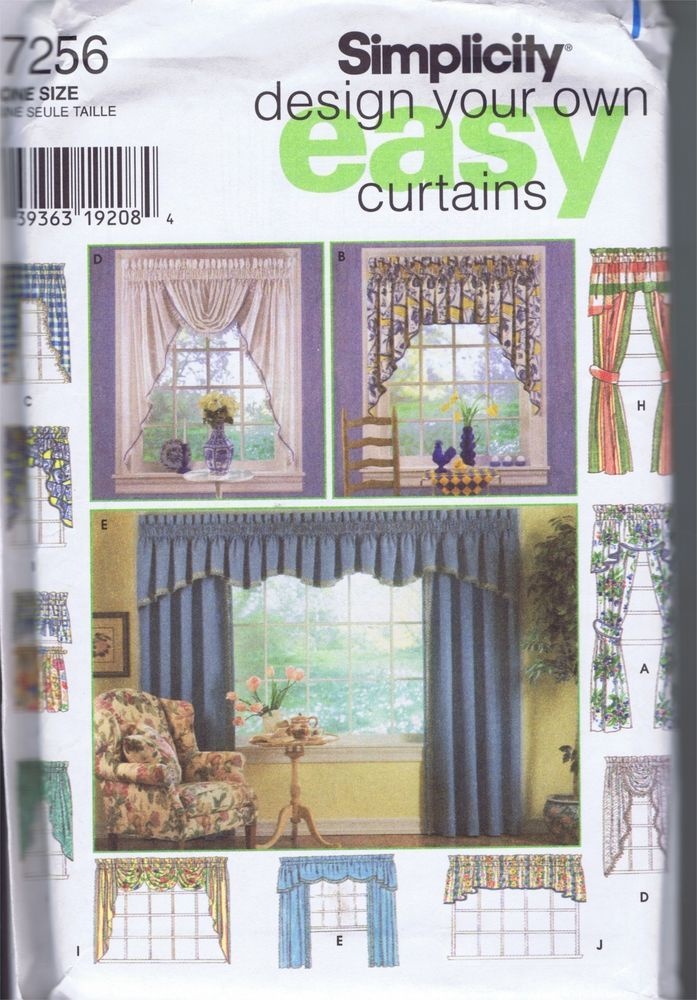 Window Drapery Valance Curtain Jabot Swags SEWING PATTERNS 7256 SIMPLICITY  UNCUT