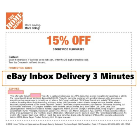 Us 27 99 One 1x Home Depot 15 Off Coupon Save Up To 200 Instore Home Depot Coupons Coupons Home Depot Credit
