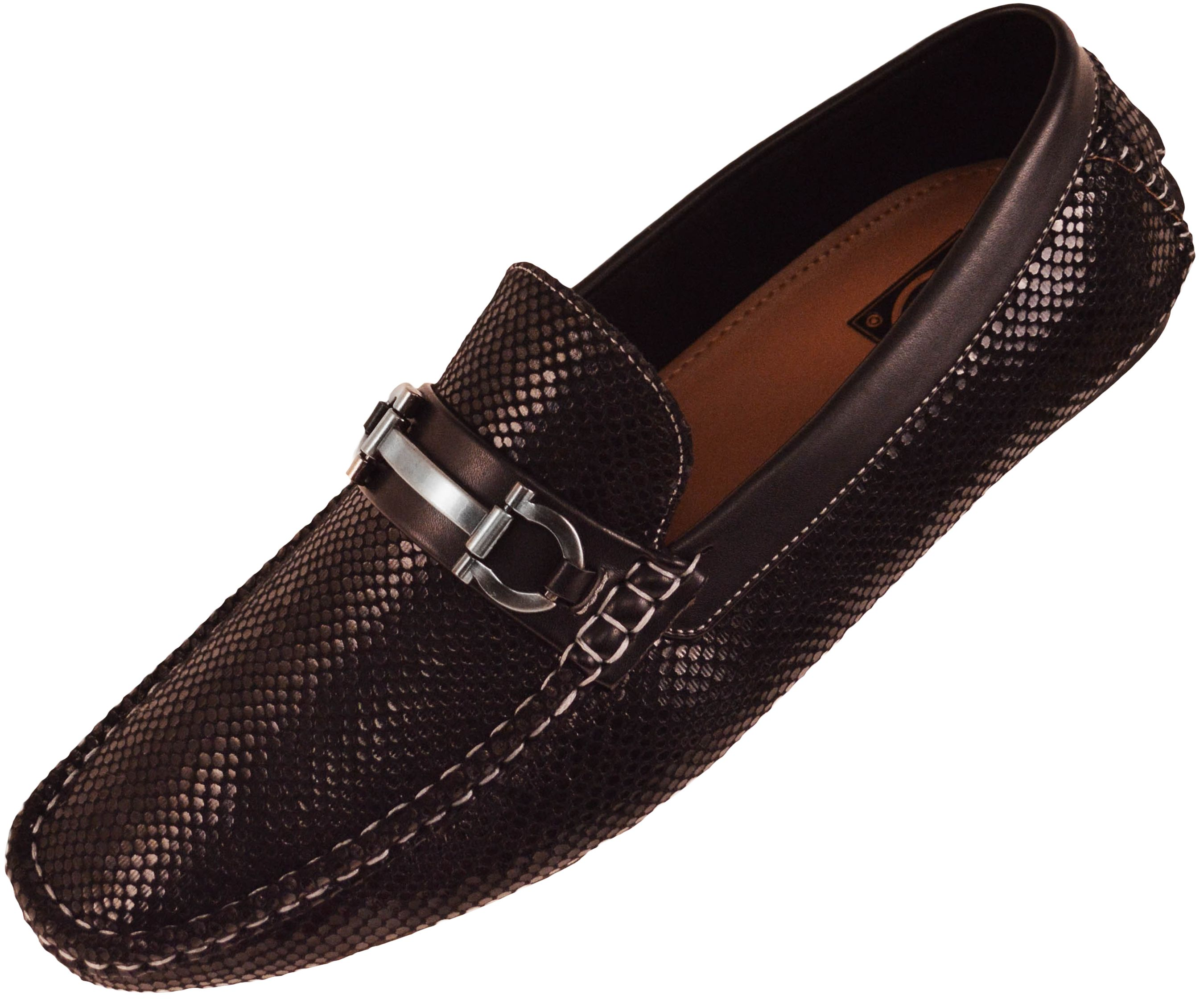 7f08fb002c1 Amali Mens Driving Moccasin Loafer in Black Snake Skin Print with ...