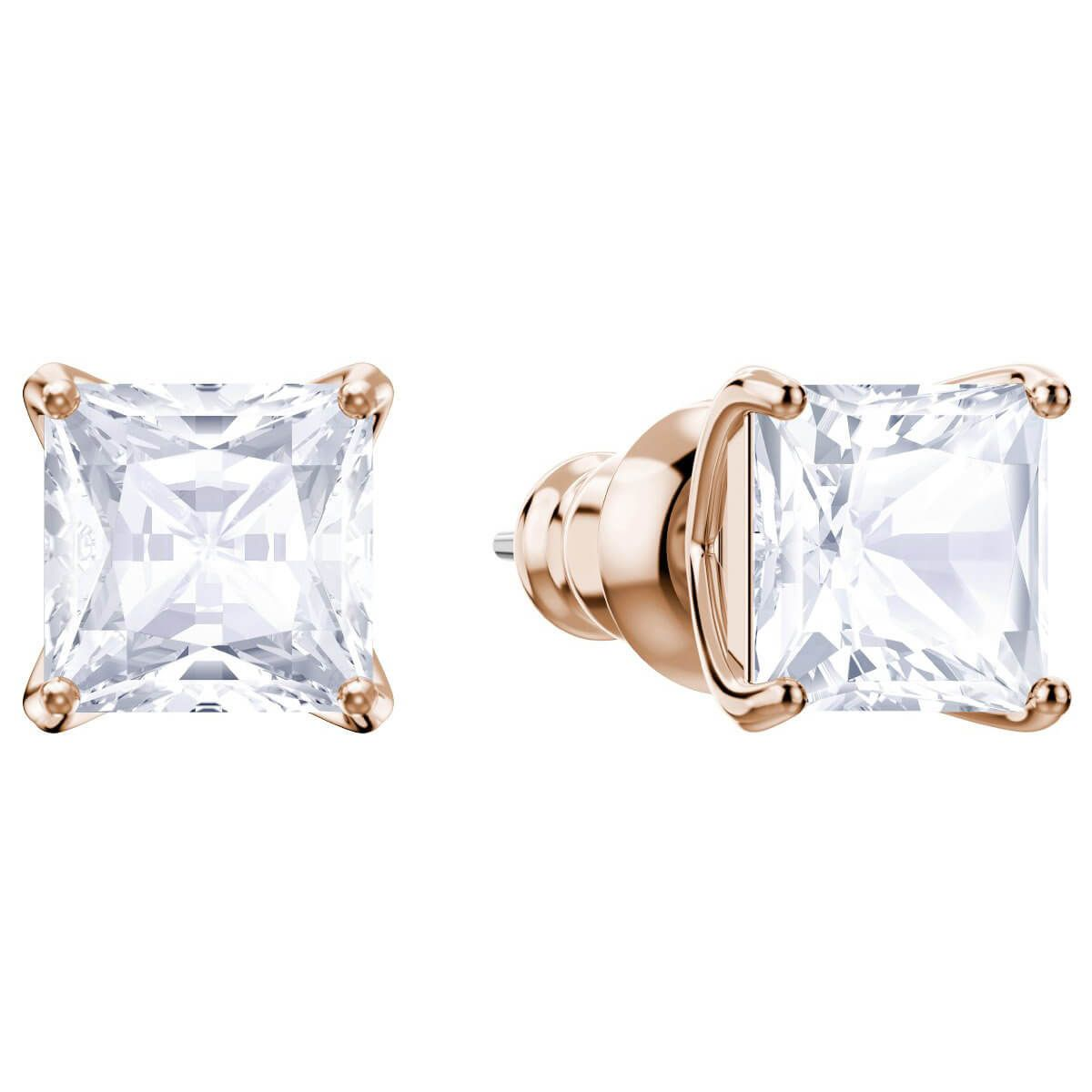 0144f5b4e Attract Stud Pierced Earrings, White, Rhodium plating in 2019 ...