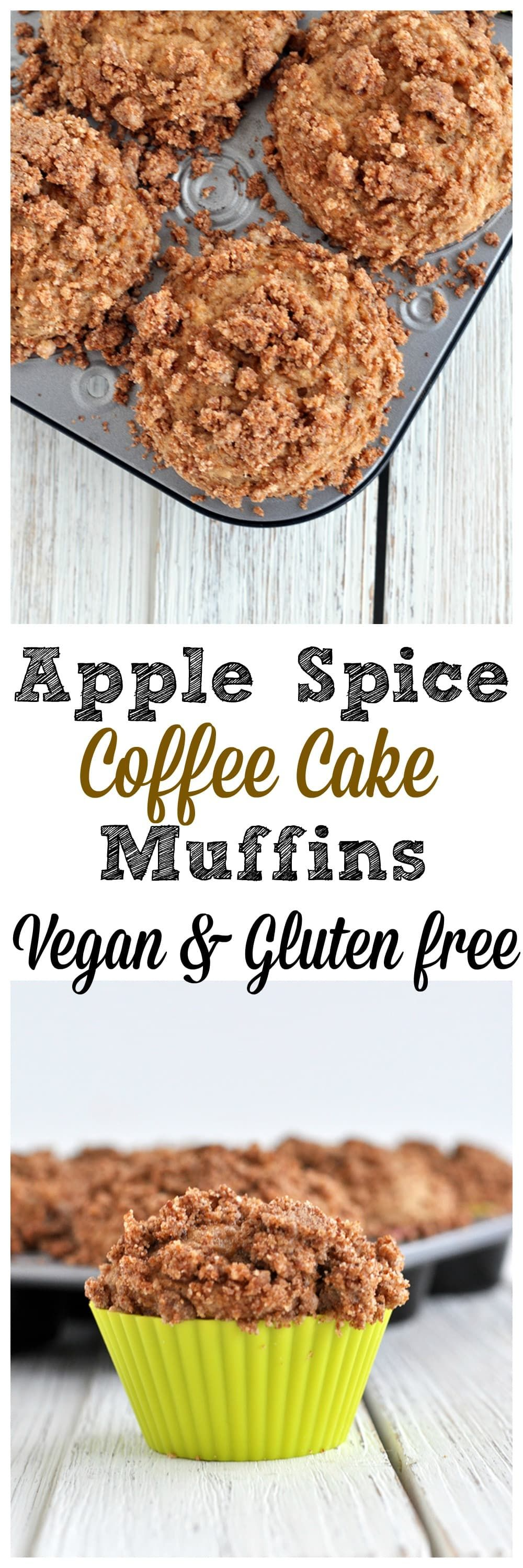 Warm Spices And A Crunchy Topping Make These Apple Spice Coffee Cake Muffins Special Vegan Vegan Dessert Recipes Coffee Cake Vegan Desserts