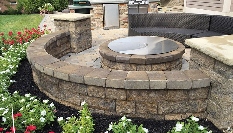 Round Fire Pit Fake Paver Patio Curved Seating Wall