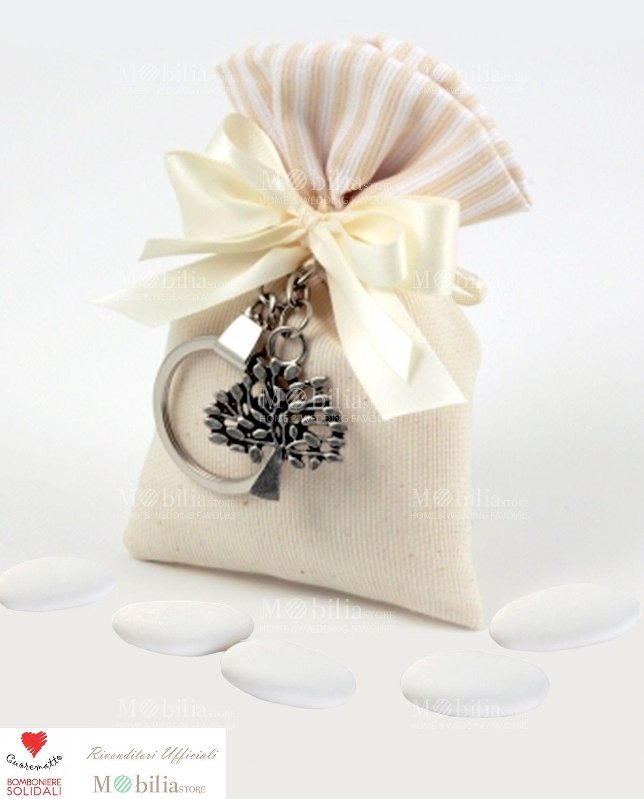 bomboniere solidali cuorematto sacchettino con portachiavi