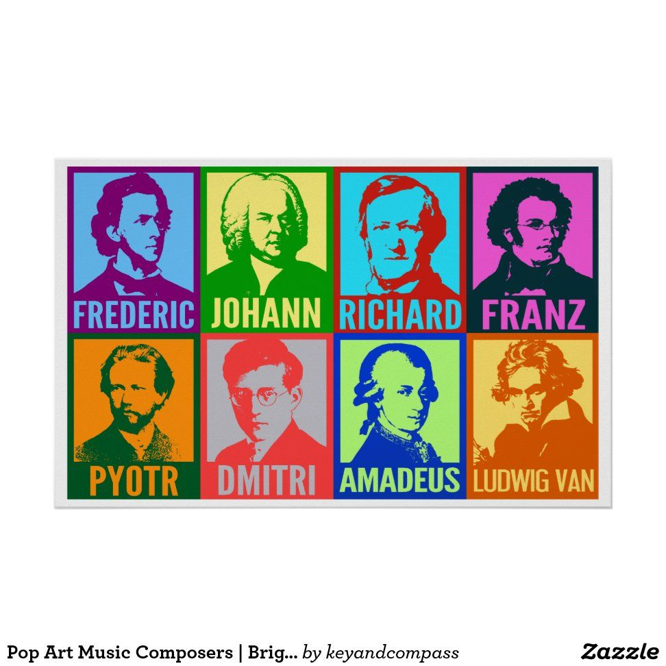 Pop Art Music Composers Bright Mod Poster Zazzle Com In 2020 Pop Art Art Music Modern Pop Art