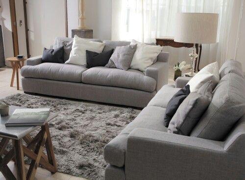 Plush Sofa 2 Seater Lounge Set Deep Seater Grey Fabric Plush Sofa Deep Sofa Sofa