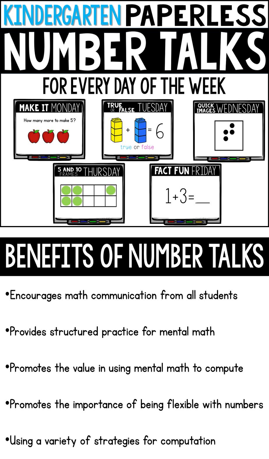 DISTANCE LEARNING Kindergarten PAPERLESS Number Talks- A YEARLONG BUNDLE