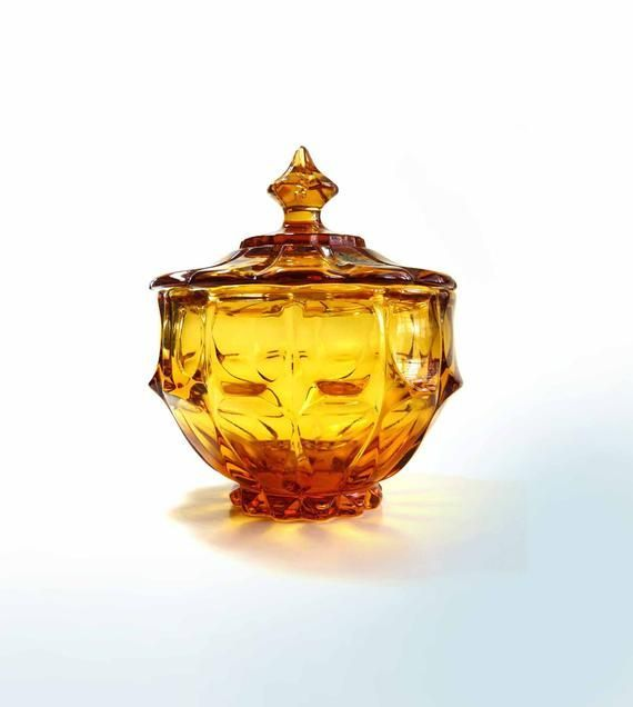 """Vintage 1960s Fenton Colonial Amber Valencia Candy Compote Lidded Bowl"" ** From your friends…"