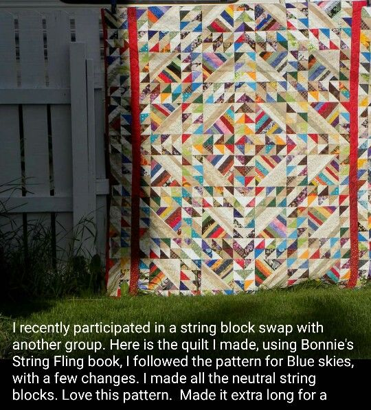 Rhoda made a Blue Skies quilt from my book String Fling with rainbow colored string blocks along with her neutral! I absolutely love how this came together, she made it extra long for a wonderful young man, all finished and ready to deliver! Signed copies of string sling are available from my website http://quiltville.com #quilt #quilting #patchwork #quiltville #bonniekhunter #stringquilt #quiltsbyyou
