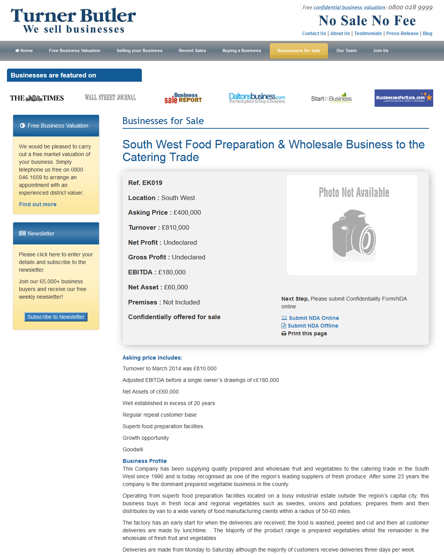 Businesses for sale South West Food Preparation & Wholesale