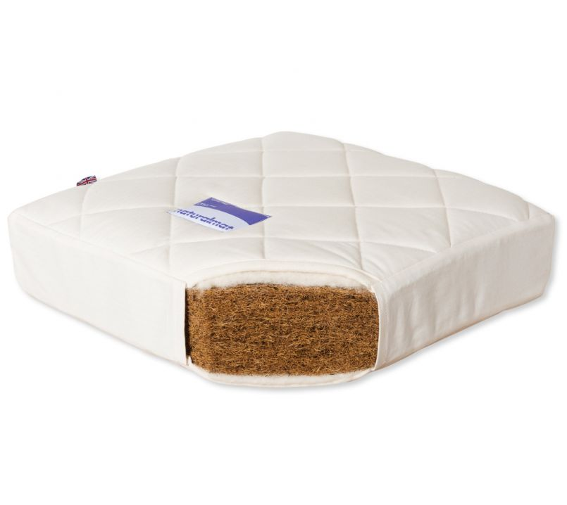 Quilted Coco Mat Firm (Cot 60cm x 120cm) Organic Natural