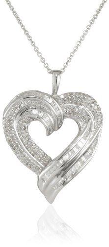cffbfa24c0b Sterling Silver Diamond Heart Pendant Necklace (1 2 cttw