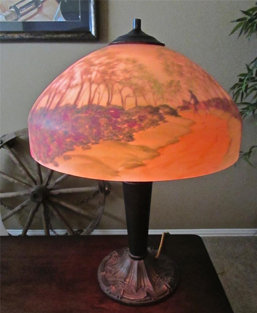 Artist Signed Handel Jefferson Style Reverse Painted Cowboy Landscape Lamp   eBay