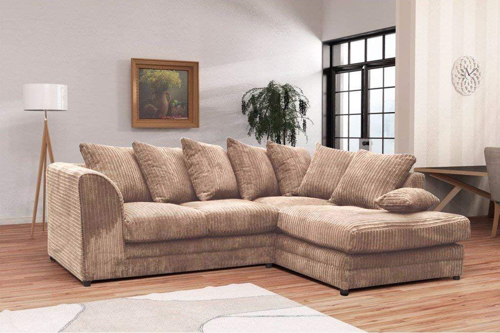 Logan Corner Sofa Lhf Jumbo Cord With Footstool Fabric Grey Amazon Co Uk Kitchen Home Corner Sofa Sofa Contemporary Home Decor