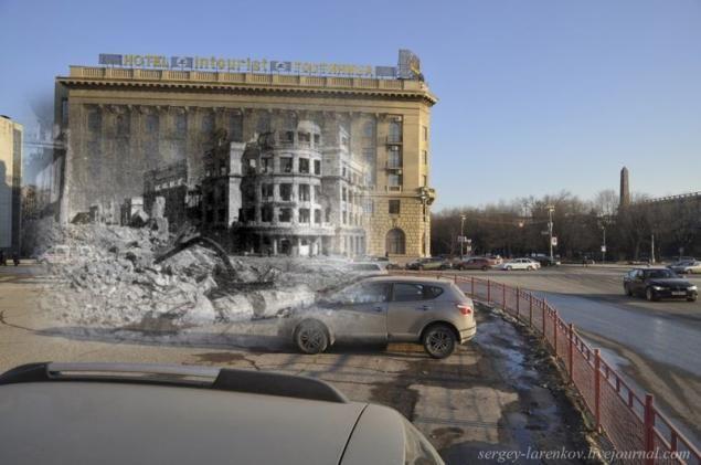 S. Larenkov. Ruinas del Hotel La Mayoría de Stalingrado y el hotel actual**
